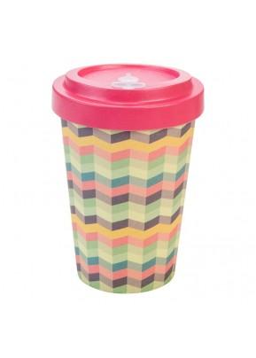 WoodWay Bambusový kelímek na kávu 400 ml Zig-Zag Pink