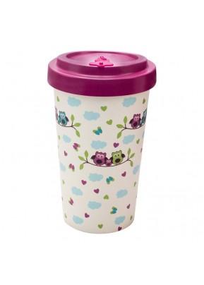 WoodWay Bambusový kelímek na kávu 500 ml Owls Purple