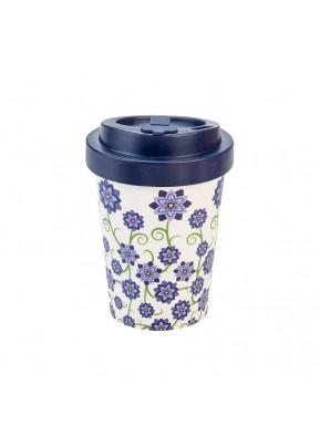 WoodWay Bambusový kelímek na kávu 300 ml Bouquet of Flowers Blue